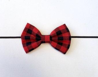 Buffalo Plaid Bow | Buffalo Plaid Fabric Bow | Buffalo Plaid Baby Headband | Plaid Fabric Bow | Christmas Plaid Headband | Plaid Headband
