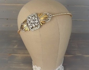 Gold Art Deco Headband, Gold & Silver Art Deco Headpiece, Gold Vintage 1920's Headband, Rhinestone Headband, Wedding, Bridal Headband