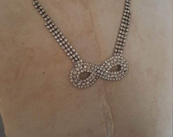 Vintage Rhinestone Bow Shaped Necklace