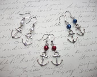 Anchor earrings with red white and blue glass pearls