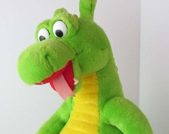 Dudley The Dragon Plush Stuffed Toy Doll 1990s Green Dragon Toy