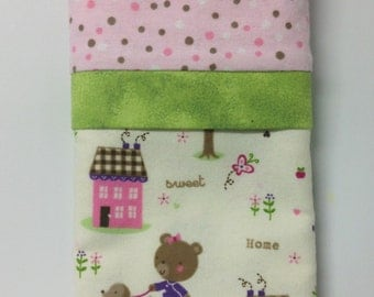 """Travel/Toddler Flannel Pillowcase - """"Home Sweet Home"""""""