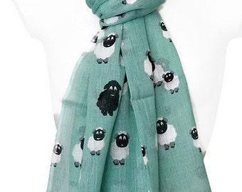 Green Scarf with a Sheep Pattern , Ladies 100% Pure Cotton Mint Aqua Fair Trade Shawl