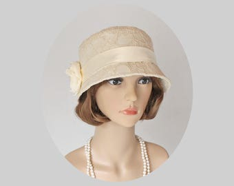 Beige clche hat with cotton and lace, Great Gatsby hat, high tea hat, 1920s flapper hat, Downton abbey hat, summer cloche hat, cream cloche