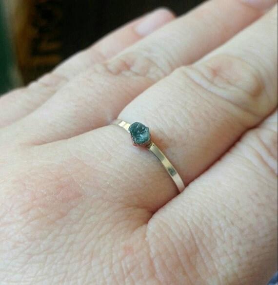 Raw Aquamarine Stacking Ring | Mixed Metal Sterling Silver Ring Sz 9 | Raw Blue Aquamarine Ring | Raw Stone Ring | Raw Stone Stacking Ring