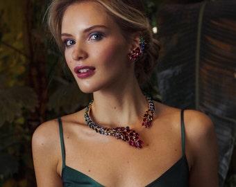 """Crystal necklace """"Galeandra"""" - multicolor ombre, Swarovski crystal necklace"""