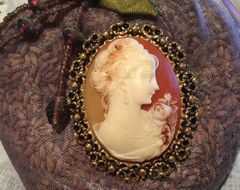 Beautiful Vintage 1970's Carved Shell Cameo  B J Brooch.  Original Gold Tone Setting