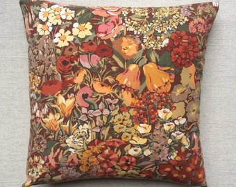 """Vintage Liberty Of London """"Cottage Garden"""" Fabric Cushion With Interior 40cm x 40cm"""