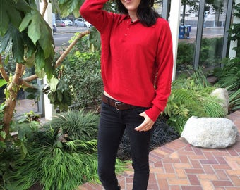 Red Sweater 1970s Vintage Pullover Long Sleeve Top for Men or Women