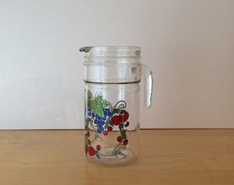 SALE- Vintage Glass Jug with Kitsch Fruity Design