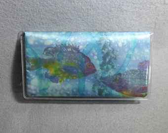 """Checkbook Cover Turquoise """"Gyotaku Fish"""", Hand Painted Silk Art Check Cover, Tropical Fish Checkbook"""