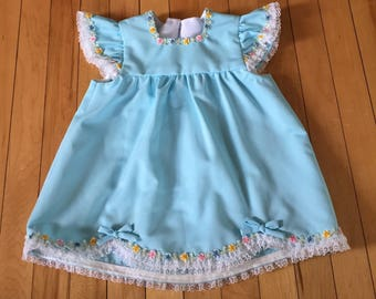 Vintage 1970s Baby Infant Girls Polyester Blue Lace Dress! Size 18 months