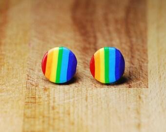 Rainbow Stud Earrings - Round Earrings - Fun Earrings - LGBT Earrings - LGBT Jewellery - Polymer Clay Earrings - Gift For Girlfriend -
