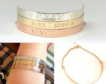 Personalized Engraved Half Cuff Bracelet Name Bracelet Rose Gold filled Sterling Silver Gift for her Gold Bar Bracelet Mom gift push present