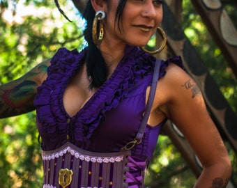 Leather Harness - Purple, Steampunk, Victorian, Burlesque, Gothic, Under Bust, Cirque, Burning Man, Festival Clothing, Wench Belt