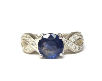 Vintage 90s Sterling Sapphire Topaz Ring Size 7