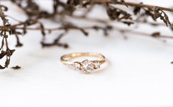 Ready to ship in 1 week- Three stone white sapphire 14k gold twig engagement ring, three stone engagement ring, gold twig ring