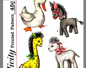 Simplicity Stuffed Animal Toys Duck Donkey Giraffe Fabric sewing Pattern # 3701 Copy