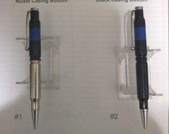 Thin Blue Line Bullet pen 308 caliber rifle cartridge.. Choose your style...Free shipping