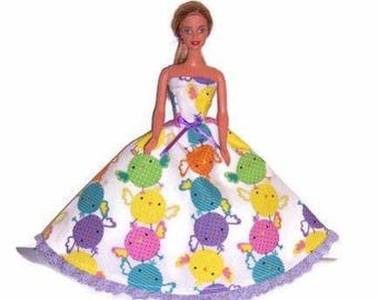 Fashion Doll Clothes-Easter Chick Print Strapless Dress