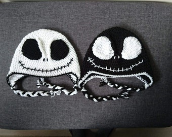 Jack Skellington crocheted earflap hat.