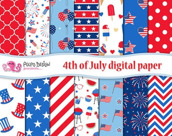 4th of July digital paper. United States Memorial Day stars and stripes tileable patterns, 4th of july clipart scrapbook backgrounds pattern