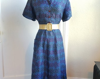 Late 1940s Day Dress in Blue, Purple, and Green Abstract Print
