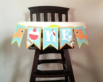 Fishing Highchair Banner, Fishing Birthday Party, The Big One, Fishing Party, Highchair Banner, Fishing First Birthday, Fishing Decorations