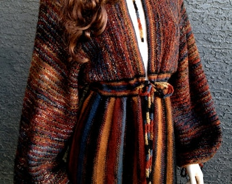 70s Maxi Cardigan-Sweater Dress