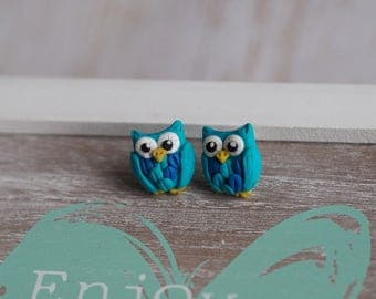 Owl Jewelry, Cute Earrings, Blue Stud Earrings, Animal Earrings,Blue Bird Jewelry,Owl Earrings, Girls Studs,Gift Owl Lovers,Sweet 16 Jewelry