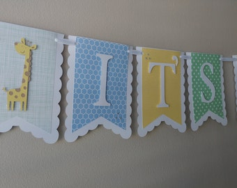 """Vintage Blue, Yellow, and Green """"It's A Boy"""" Baby Shower Banner with Giraffe and Elephant Accents"""