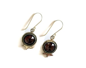 Garnet earrings, Silver garnet earrings, Red silver earrings, Silver earrings, Red garnet silver earring, Israel Jewelry, Drop earrings