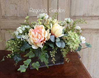 Summer Floral Arrangement-French Country Decor-Rustic Farmhouse Decor-Silk Floral Centerpiece-Cottage Chic-Housewarming Gift-Home Decor