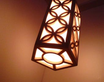Hanging Lantern - Geometric Pattern Lamp - Folk Art Geometric Shape -  Polyhedral Pendant Light  - Hanging LED Night Light