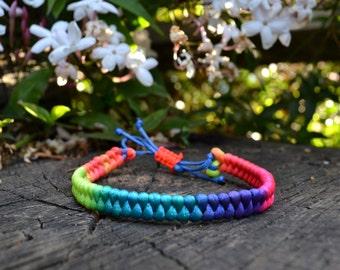 Multicolored Neon Braided Hand-Made Bracelet, Friendship Bracelet, Rainbow Bracelet, Christmas Gift, Stocking Stuffer, Gift