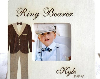 Ring Bearer Picture Frame Wood Engraved Custom Gift For