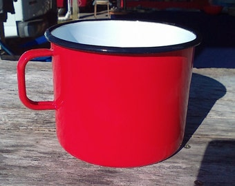 Vintage #14 Red and White Enamelware Measure Cup Made in Yugoslavia