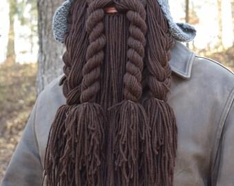 Dwarf Hat and Beard, Medieval Helmet Viking Costume, Long