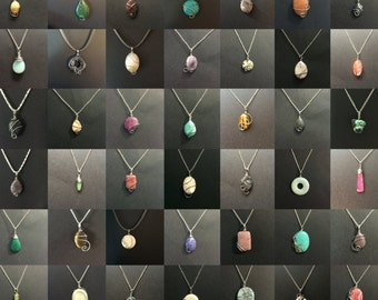 100 Wire Wrap Stone Pendants Wholesale Wire Wrapped Stone Pendant Necklaces Bulk Lot