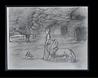 "original artwork, OOAK, graphite ""Age of Innocence"""