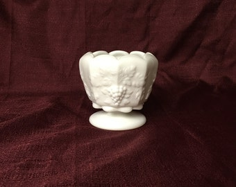 Westmoreland Milk Glass Rose Bowl | Paneled Grape | Footed | Scalloped Folded Rim