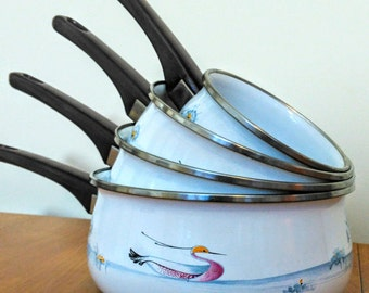 Set Of Four French White & Blue Enamel Lake Design White Graduated Saucepans Cooking Pots Pans