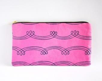 Clutch Bag, Clutch Purse, Zipper Clutch, Clutch Wallet - Purple Squiggle Lines