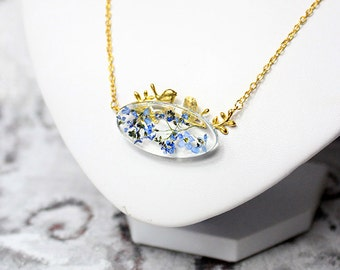 romantic necklace branch jewelry blue gold necklace gold bird jewelry botanical necklace/for/mom gift girlfriend delicate necklace Рю183