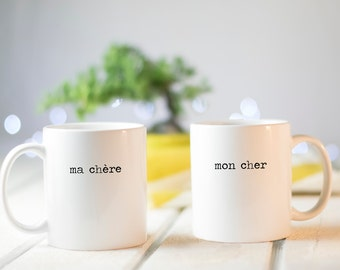 Mugs for couples | Valentines Day gift | wedding mugs | ma chère mon cher | mug set | unique mug | hipster | wedding gifts for couples