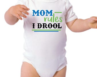 Mom - Dad Rules I Drool - Baby Onesie