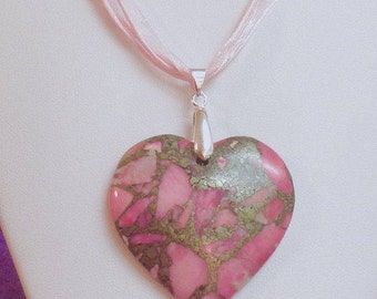 Pendant Necklace,Heart Sea Sediment Pink Jasper Pendant, Ribbon necklace