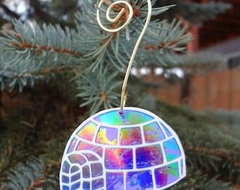 Recycled CD Igloo Ornament