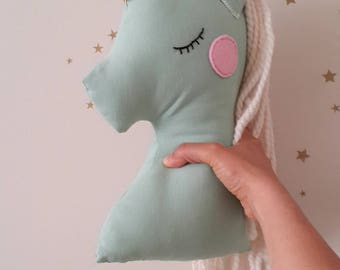 Stuffed Unicorn plush cushion pillow mint nursery decor, big animal pillow party decor, birthday gift for kids and baby girls