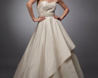 sweetheart wedding gown silk taffeta gown draped gown grecian wedding dress wedding